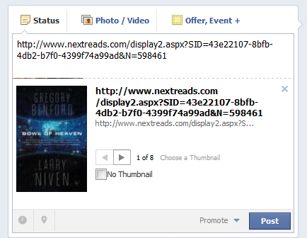 Posting a NextReads Newsletter to Facebook (1)